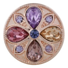 20MM round Rose-Gold Plated with colorful rhinestone KC5652 Multicolor