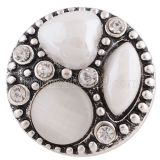 20MM Round snap Antique Silver Plated with  white  rhinestone and resin KB7946 snaps jewelry