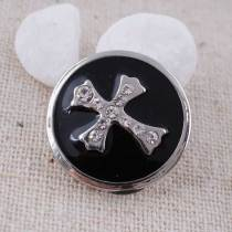 20MM Cross snap Silver Plated with clear rhinestones and black Enamel KC8565 snaps jewelry