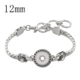 22CM 1 buttons snaps metal Bracelets KS1107-S fit 12MM snaps chunks