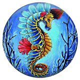 20MM hipocampo Metal esmaltado pintado C5410 estampado broches joyería