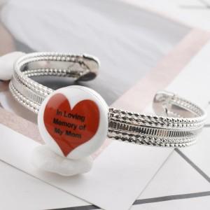 20MM Сердце с росписью эмалью по металлу C5360 с принтом на защелках