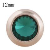 12MM bouton pression rond en or rose avec strass vert KS9681-S s'encliquette des bijoux