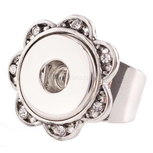 18MM 8 # encaje anillo de metal ajustable con diamantes de imitación KC0919 encaje joyería
