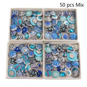 50pcs / lot Druckknöpfe 20mm Mischung Blau, Cyan, Saphir mixmix Farben