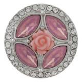 Хвост цветка 20MM посеребренный с розовым стразами KC7646 бижутерия