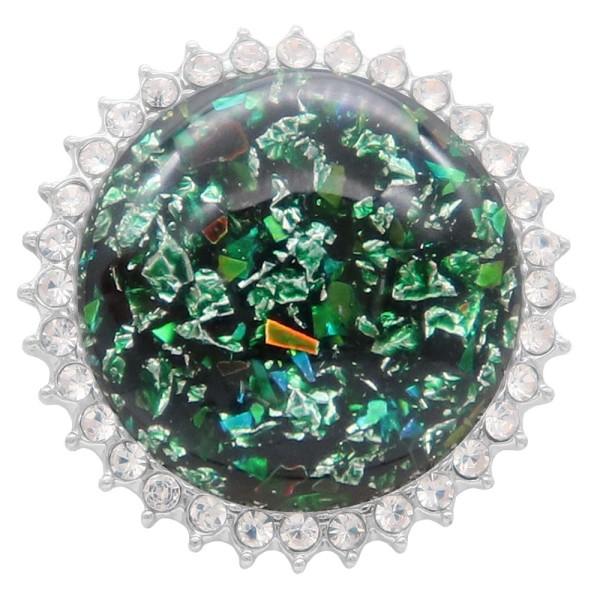 25MM Ручная работа Толстая глянцевая круглая красочная янтарная оснастка Серебро с покрытием со стразами KC7950 Зеленый