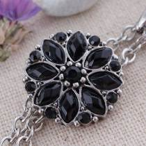 20MM snap silver Plated with black Rhinestones KC7340 snaps jewelry