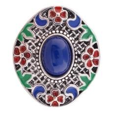 20MM Design Druckknopf Antik Silber Überzogen mit blauen Perlen und Emaille KC6383 Druckknöpfen