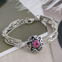 20MM design snap silver plated with rose-red Rhinestone and Enamel KC5536 snaps jewelry