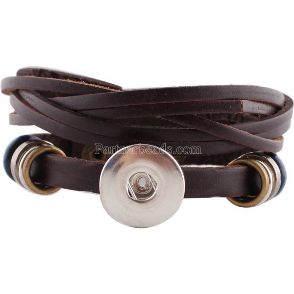 1-Knöpfe Braunes Leder KC0642 mit kleinen Anhängern Die neuen Armbänder passen zu 20mm-Druckknöpfen