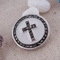 20MM Cross snap Silver Plated with gray rhinestones and Enamel KC8561 snaps jewelry