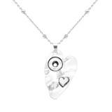 Un collar colgante de plata con cabeza de corazón amoroso con cadena 60CM KS1240-S fit 12MM trozos encaja joyas