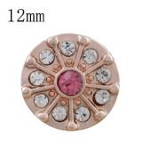 12MM круглая кнопка из розового золота с покрытием из розового горного хрусталя KS9697-S защелкивается ювелирные изделия
