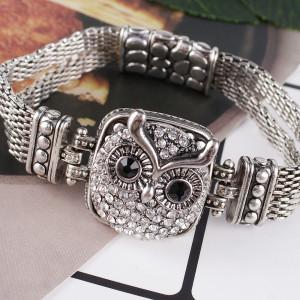 23MM Owl snap Chapado en plata antigua con diamantes de imitación KB7956 broches de joyería
