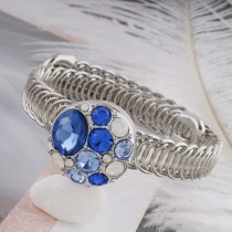 20MM round snap sliver plated with blue rhinestone KC5665 snaps jewelry