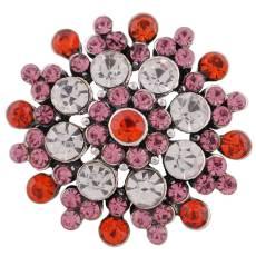 20MM desin snap plaqué argent avec strass colorés KC8952 s'encliquette bijoux