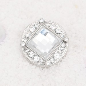 20MM  design snap Silver Plated with  white rhinestone KC7899 snaps jewelry