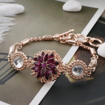 Design 20MM Plaqué or rose avec strass violet KC5648 s'encliquette bijoux