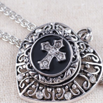20MM Cross snap Antique Silver Plated with white rhinestone KB8775 snaps jewelry Black/White