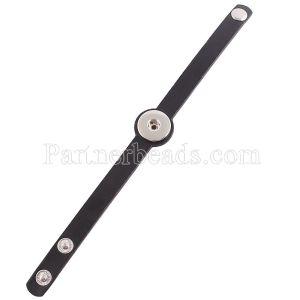 Partnerbeads 21cm 1 Druckknopf Schwarze Lederarmbänder passen zu 18 / 20mm Druckknöpfen KC0025