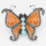 20MM Astilla de mariposa chapada con diamantes de imitación y esmalte naranja KC6714 broches de joyería
