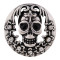 20MM Skull Antique silver plated with white Rhinestone KC7369 interchangeable snaps jewelry