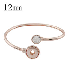 1 buttons snap rose gold bracelet with rhinestone fit 12MM snaps style jewelry KS1186-S