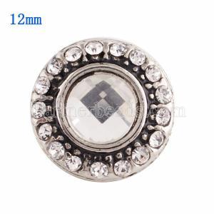 12MM Broche redondo plateado con diamantes de imitación blancos KS9621-S broches de joyería