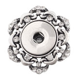 1 snaps button interchange brooch plating Antique sliver with Rhinestones KC1174 snaps jewelry