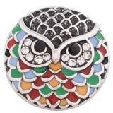 20MM Owl snap Antique Silver Plated with colorful Enamel and Rhinestones KC8767 Multicolor