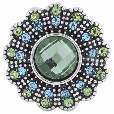 20MM Цветочная оснастка Античное серебро с покрытием из зеленого горного хрусталя KC6047 защелкивается ювелирные изделия