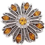 Diseño 20MM plata chapada antigua chapada con diamantes de imitación amarillos KC5407 broches de joyería