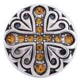 20MM snap cross silver plated with orange rhinestones  KC6269 interchangable snaps jewelry