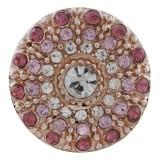 20MM redondo chapado en oro rosa con diamantes de imitación rosa KC7598 broches de joyería