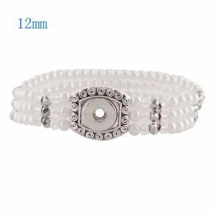 Los botones 1 se ajustan con baño de plata con perlas y brazalete de cuentas pequeñas KS0922-S fit 12MM encaja los trozos