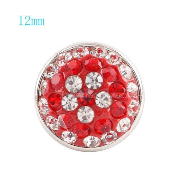 Botón de broches 12mm con diamantes de imitación rojos Joyas de broches KS2702-S