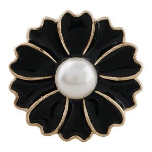 Broche de oro 20MM chapado en oro con perlas y esmalte negro KC9866 broches de joyería