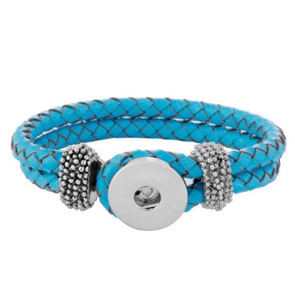 Sky Light Blue Echtlederarmbänder passen zu Druckknöpfen