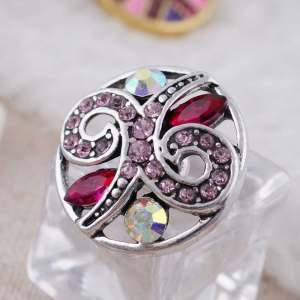 20MM design snap Antique Silver Plated with rose-red Rhinestone  KC8674