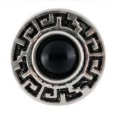 20MM Broche redondo plateado con piedra turquesa negra KC7669 broches de joyería