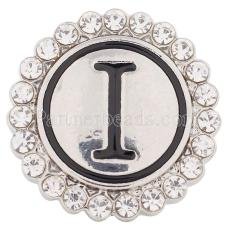 20MM English alphabet-I snap Antique silver  plated with  Rhinestones KC8538 snaps jewelry