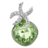 20MM Морская звезда с застежкой посеребренная с зелеными стразами KC6373 оснастка ювелирные изделия