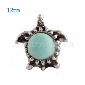 12MM Tortoise snap Silver Plated with green Turquoise KS9639-S snaps jewelry