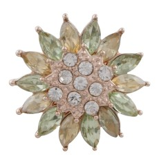 20MM snap design rose plaqué or avec strass vert KC7578 snaps bijoux