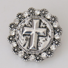 20MM Cross snap Silver Plated avec strass KB5151 snaps jewelry