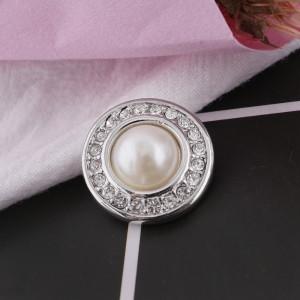 20MM Broche redondo Plateado plata Perla blanca KB5083 broches joyería