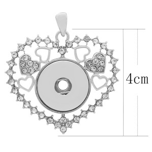 Liebe durchbrochene Silber Splitter Anhänger mit Strass passen 20MM schnappt Stil Schmuck KC0425