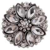 20MM snap silver Plated with white Rhinestones KC7338 snaps jewelry