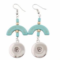 Snaps metal earring with Turquoise and small beads KC0935 fit 18mm chunks snaps jewelry